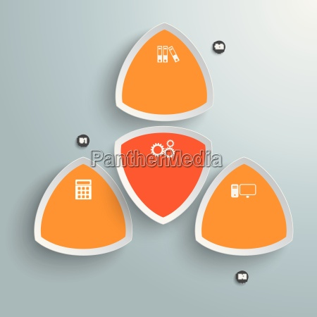 4 round colored triangles orange infographic
