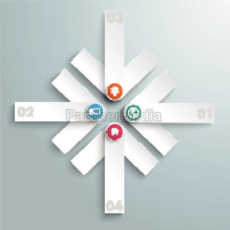 4 white arrows cross piad