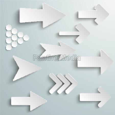 diferentes flechas blancas