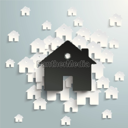 big black house with white homes