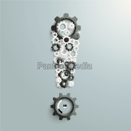 big exclamation mark gears black and