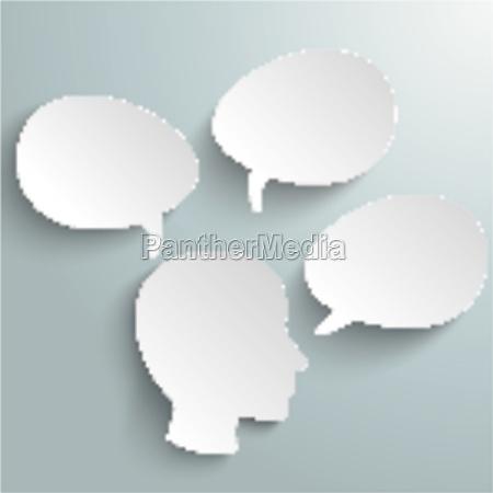 big head three speech bubbles piad