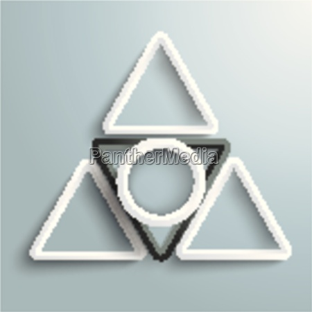black and white triangles white ring