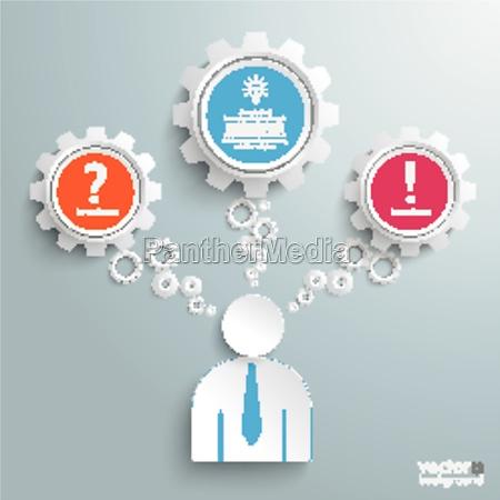 businessman 3 gears speech bubbles idea