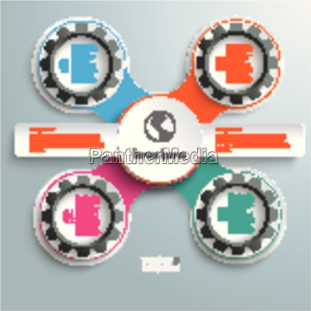circle and black gears chain colored