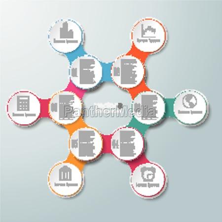 circle hexagon molecule chain 6 options