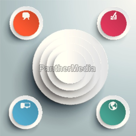 colored and white circles in circles