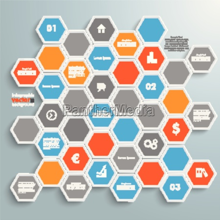 colored honeycomb background infographic