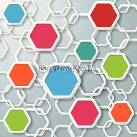 colored and white hexagons infographic