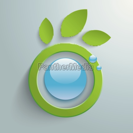 eco leaves blue button piad