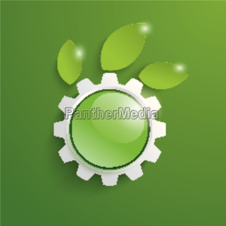 green technology gear leaves green button