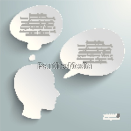 head thought and speech bubbles