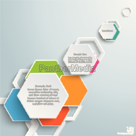 infographic colored paper hexagons piad