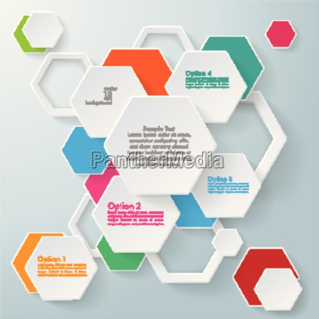 infographic colored paper hexagons