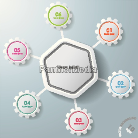 infographic hexagon colorful gears