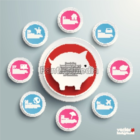 infographic piggy bank circles with wishes