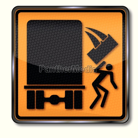 danger sign caution falling cargo from