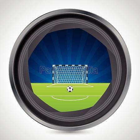 soccer field seen through camera shutter