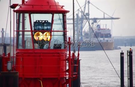 lighthouse in the port of hamburg
