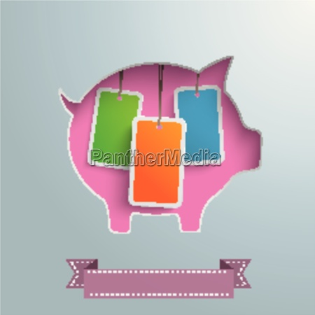 piggy bank price stickers silver background
