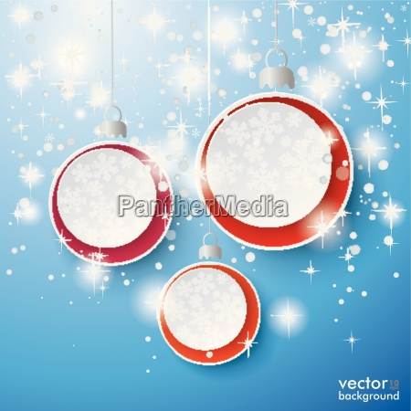 snow stars three baubles background