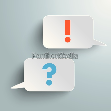 two rectangle speech bubbles question answer