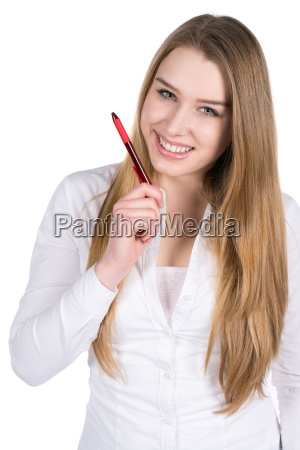 young woman holding a pen