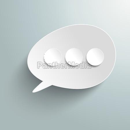 white bevel speech bubble three circles