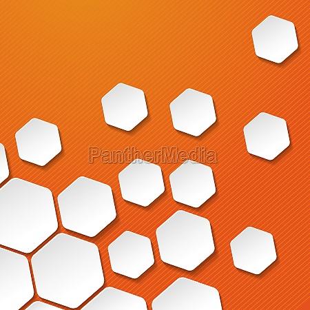 white paper hexagon labels orange stripes