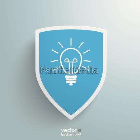 white protection shield blue idea