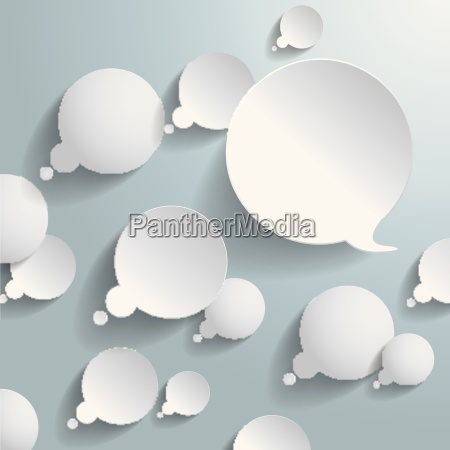 white thought and speech bubbles