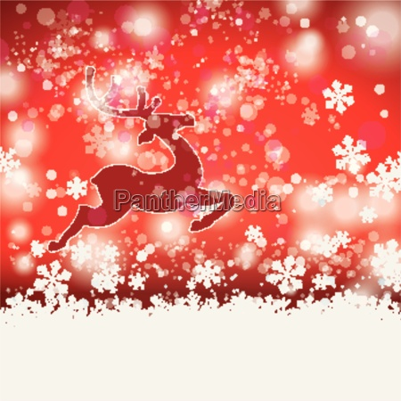 winter christmas rentier red background
