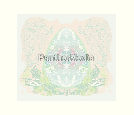 easter egg on floral pastel background