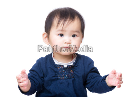 asia baby girl isolated on white