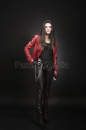 fashion portrait of young brunette woman