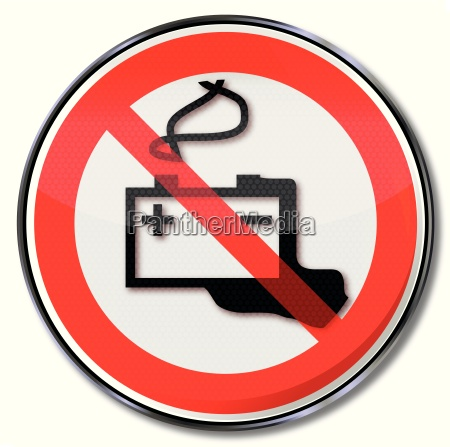prohibition sign respect car battery and