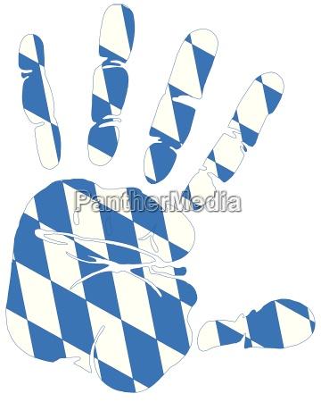 bavaria flag on hand print