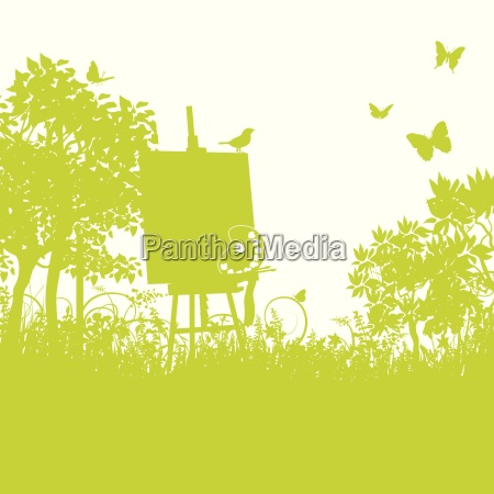 blades of grass and easel in