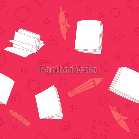 school notes seamless pattern on pink