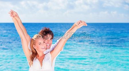 happy couple having fun on the