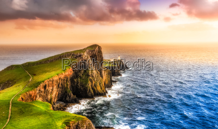 colorful ocean coast sunset at neist