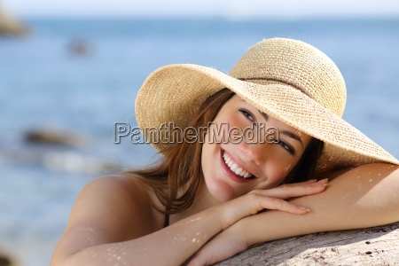 happy, woman, with, white, smile, looking - 11480505