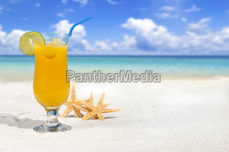 fruit cocktail and starfish on the