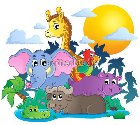 cute african animals theme image 7
