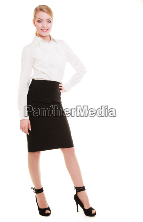 full length of young blond businesswoman