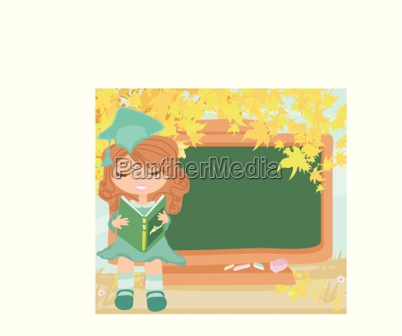 green chalkboard with autumn leaves and