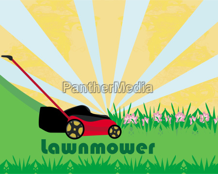 lawn mower with grass abstract
