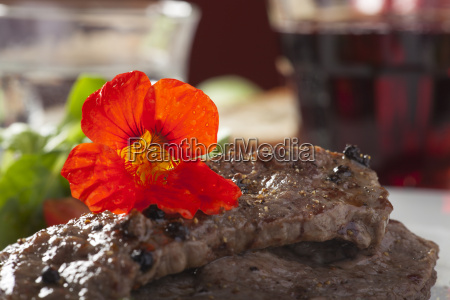 grilled steak with capuchin cress