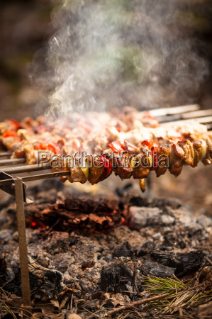 meat kebab cooked on fire