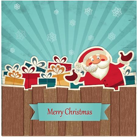 retro christmas background with santa claus